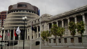 The Beehive & New Zealand Parliament Stock Photo