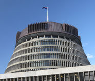 Beehive Parliament Building, Wellington. 'The Beehive' parliament office building, Wellington, New Zealand Stock Photo