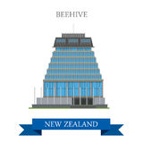 Beehive Parliament Building Wellington New Zealand vector flat. Beehive Parliament Building in Wellington New Zealand. Flat cartoon style historic sight Royalty Free Stock Image