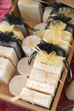 Beehive soaps. Pretty soaps made with beeswax and wrapped on cute little bags Stock Photography