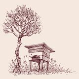Beehive under a tree in bloom. Hand drawing royalty free illustration