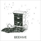 Beehive vector. Vector silhouette Beehive. Bees flying around hive vector illustration