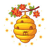 Beehive weighs on a branch with flowers. Stock Photography