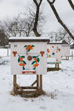 Beehives in the apiary in winter close-up Stock Photography
