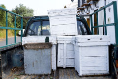 Beehives in the back of a truck Stock Photography