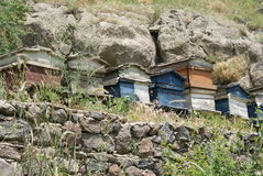 Beehives at Geghard Stock Images