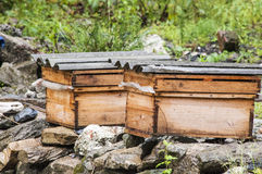 Beehives. Nature area in Sanjiang, Wenchuan County, Sichuan tourism, a farmhouse outside the box caught my attention, I did not know is the beehive, approached Stock Photo