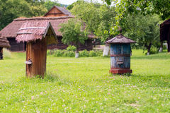 Beehives. In the open-air museum Szymbark Poland stock image
