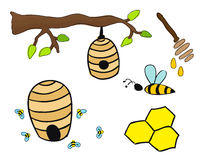 Beehives vector drawing Royalty Free Stock Image