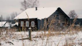 Beeinflussen des trockenen Grases gegen altes Holzhaus stock video footage
