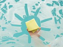 Beeing creative while cleaning Royalty Free Stock Photo