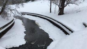 Beek die onder de snow-covered aard murmelen stock video