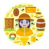 Beekeeper и объекты пчеловодства бесплатная иллюстрация
