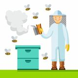 The beekeeper in the apiary, color picture. The beekeeper smokes the hive, bees flying around. Vector picture. Color flat illustration on white background stock illustration
