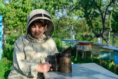 Beekeeper controlling beehive and comb frame. Apiculture. Stock Photo