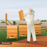Beekeeper Flat Composition. Beekeeper in special outfit with honeycombs in hands near hives on nature background flat composition vector illustration stock illustration