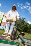 Beekeeper Holding Honeycomb Frame On Farm Stock Photo