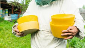 A beekeeper is holding a wax in round shapes. Beekeeping work on the apiary. Selective focus. Horizontal frame royalty free stock photos