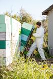 Beekeeper Loading Stacked Honeycomb Crates In Royalty Free Stock Photo