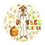 Beekeeper med honung royaltyfri illustrationer