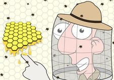 Beekeeper pointing. Illustration of a Beekeeper pointing at honeycomb stock illustration