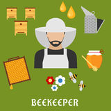 Beekeeper profession and beekeeping flat icons. Beekeeper profession flat icons. Beekeeper man in hat, encircled by honey drops, wooden beehives, honeycomb frame stock illustration