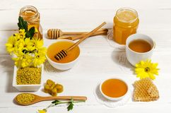 Beekeeper`s still life on wooden table Royalty Free Stock Images