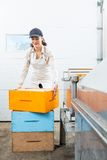 Beekeeper With Stacked Honeycomb Boxes Working In Royalty Free Stock Photo