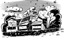 Beekeeper takes care of his hive. Beekeeper takes care of his hive, surrounded by worker bees stock illustration