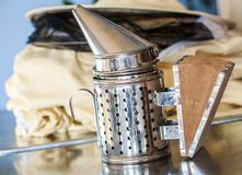 Beekeeper tools Smoker for chilling down the Bees Stock Images