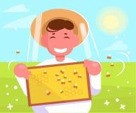 Beekeeper Vector cartoon Isolerad konsthonungsammankomst royaltyfri illustrationer