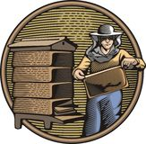 Beekeeper Vector Illustration in Woodcut Style. Vector illustration of a beekeeper, collecting honey from a beehive. Organic farming. Retro woodcut style Stock Photos