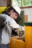 Beekeeper working in an apiary Royalty Free Stock Images