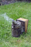 Beekeepers galvanised smoker. Used to keep bees at bay when tending the hive stock images
