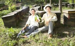 Beekeepers och öl Arkivbild