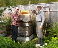 Beekeepers stand near a beehive on an apiary Stock Image