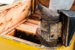 Beekeepershulpmiddel die rook op de geopende bijenkorf maken Stock Foto