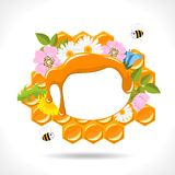 Beekeeping - abstract background. Background with honeycomb, honey, flowers and two cartoon bees Stock Photography