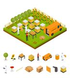 Beekeeping Apiary Farm and Elements Part Isometric View. Vector. Beekeeping Apiary Farm and Elements Part Isometric View with Farmers and Bee. Vector Stock Photo