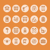 Beekeeping, apiculture line icons. Beekeeper equipment, honey processing, honeybee, beehives types, natural products Stock Image
