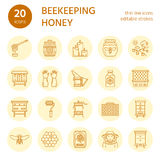 Beekeeping, apiculture line icons. Beekeeper equipment, honey processing, honeybee, beehives types, natural products Royalty Free Stock Images