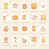 Beekeeping, apiculture line icons. Beekeeper equipment, honey processing, honeybee, beehives types, natural products Royalty Free Stock Photo
