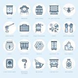 Beekeeping, apiculture line icons. Beekeeper equipment, honey processing, honeybee, beehives types, natural products Stock Photography