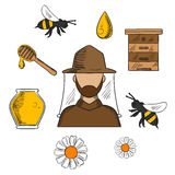 Beekeeping and apiculture symbols set Royalty Free Stock Images