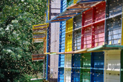 Beekeeping - Beehives. Beekeeping: A long line of coloured beehives in the middle of a meadow stock image