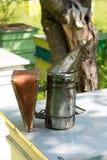 Beekeeping bellows. Selective focus, copy space Stock Photos
