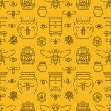 Beekeeping bezszwowy deseniowy żółty kolor, apiculture wektoru ilustracja Pasiek ikon cienka kreskowa pszczoła, ul, honeycomb royalty ilustracja