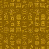 Beekeeping colored seamless pattern, apiculture vector illustration. Apiary thin line icons - bee, beehives, barrel Stock Photo