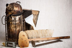 Beekeeping equipment. On canvas background royalty free stock photography