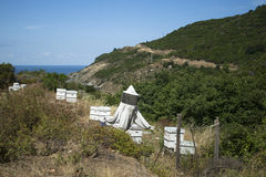 Beekeeping equipment. Bee culture equipment (beehives) on volcanic peninsula at south of Marmara Sea in Turkey stock images